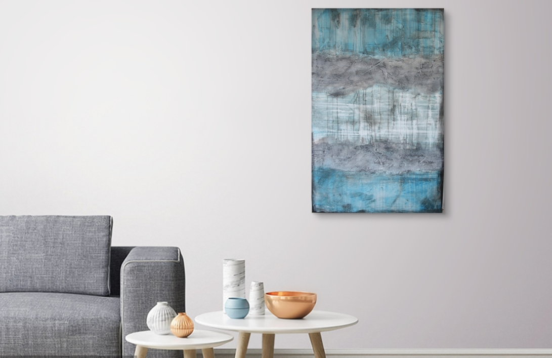 Interior design: Textured abstract painting in blue and grey