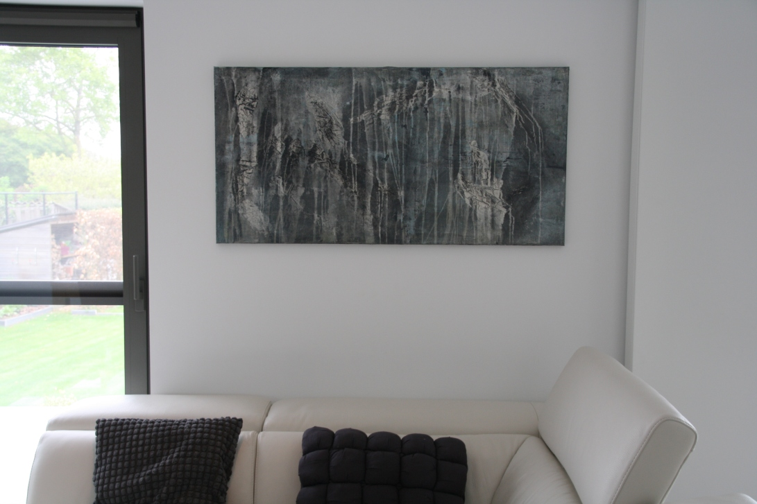 Interior design: Textured abstract painting in grey and blue