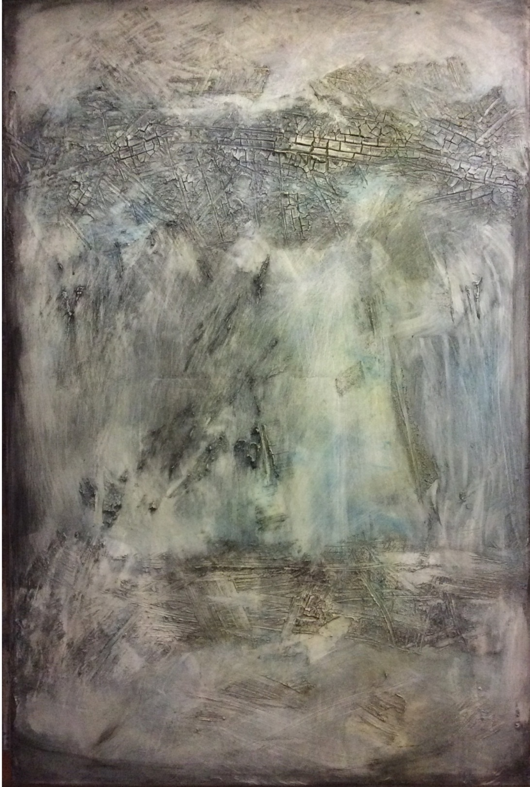 Textured Abstract Painting in Grey and a touch of Blue