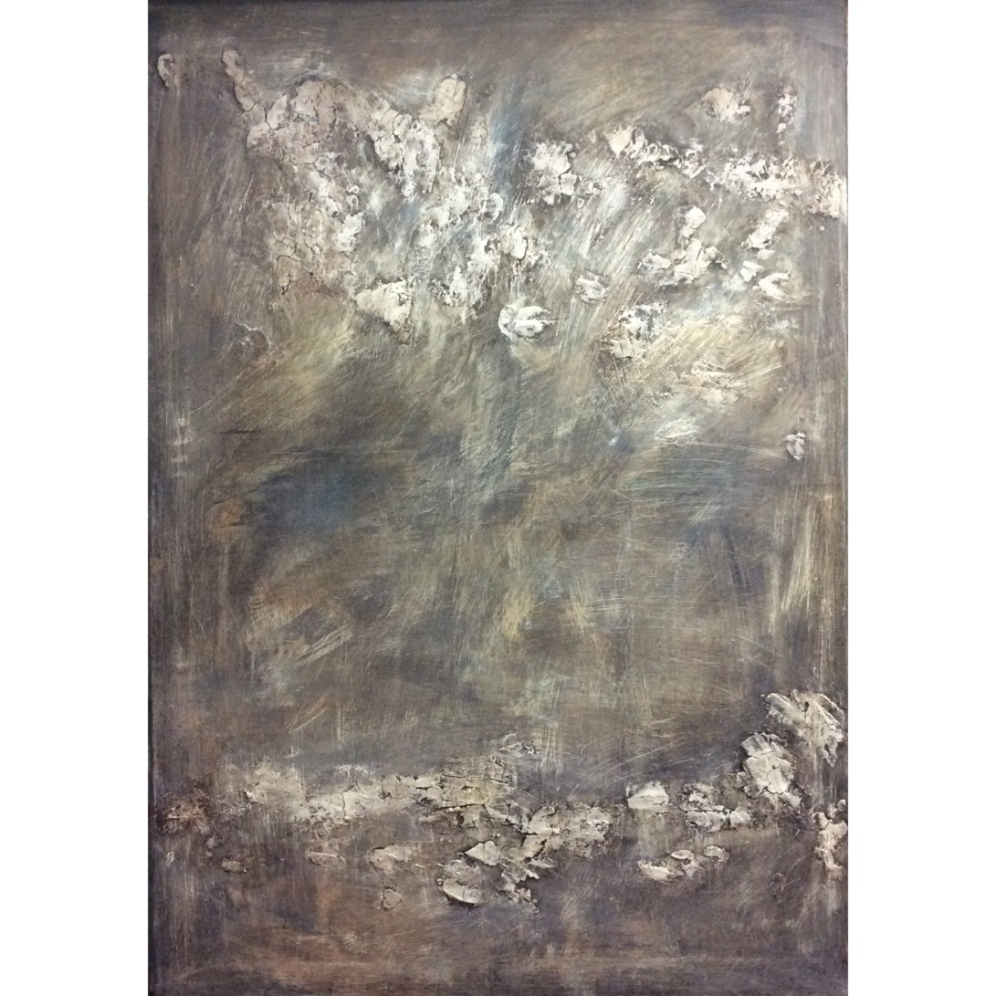 Textured abstract painting in dark tones