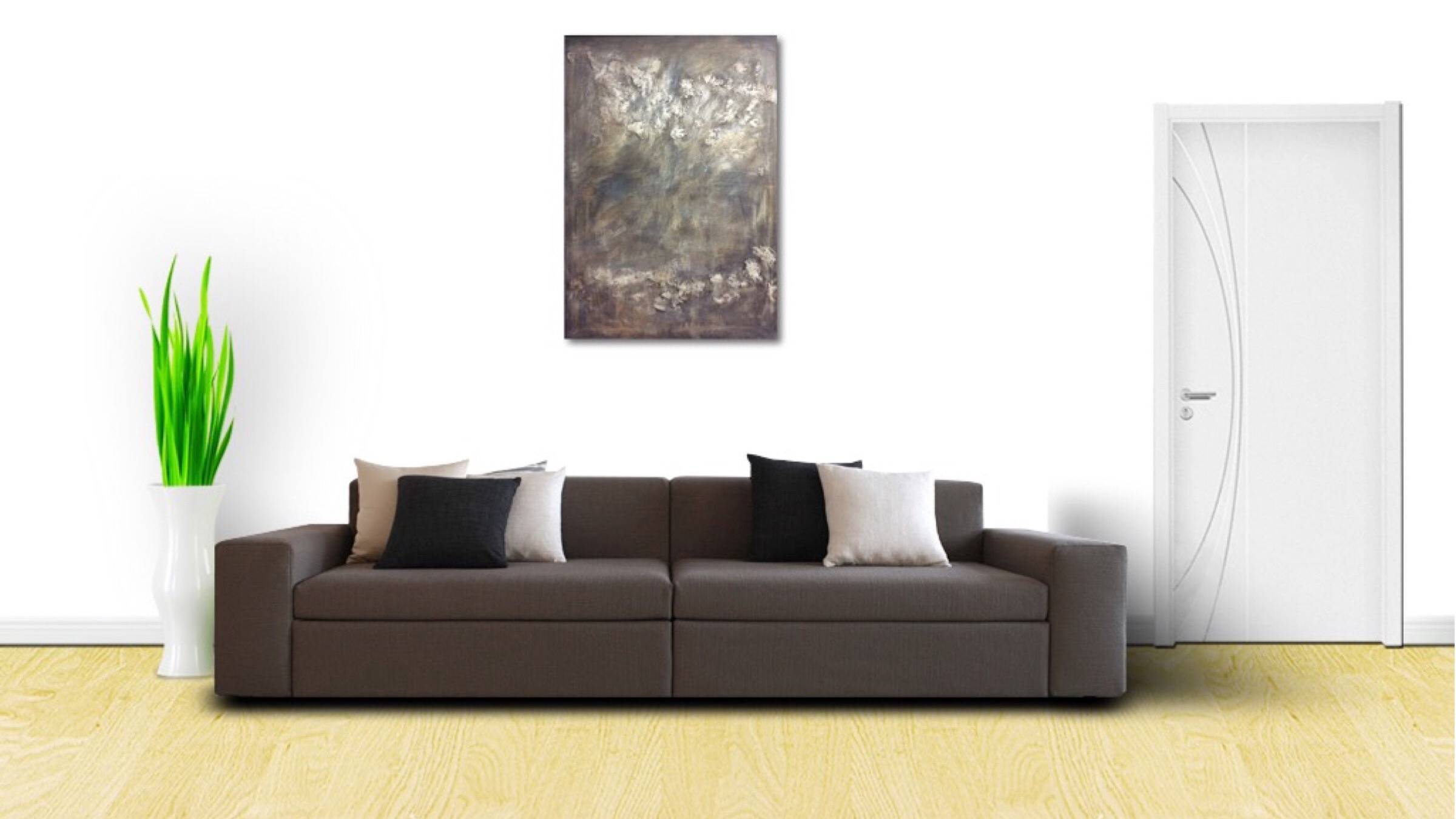 Interior design: Textured abstract painting in dark tones