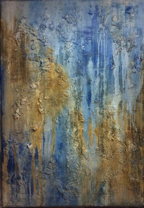 Textured abstract painting in yellow and blue