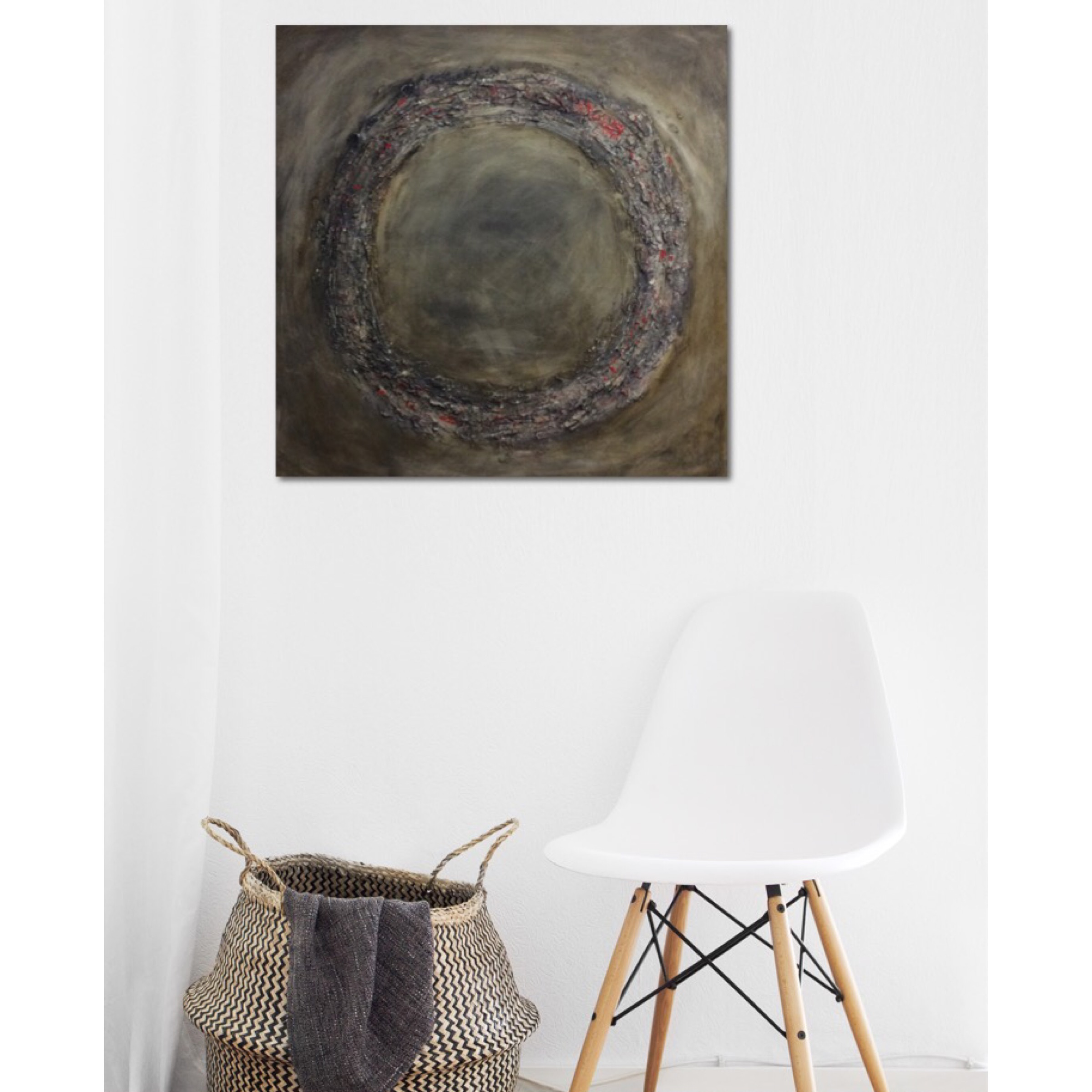 Interior design: Square textured abstract painting in neutral colors and a dash of red
