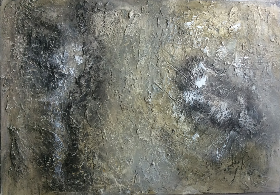 Textured abstract painting in neutral colors