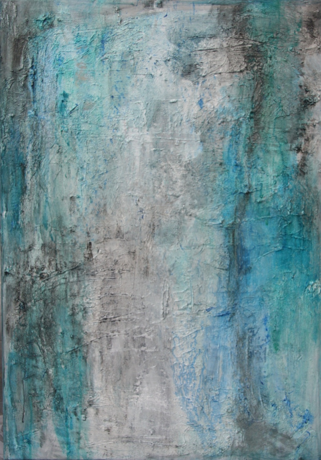 Textured abstract painting in different shades of blue