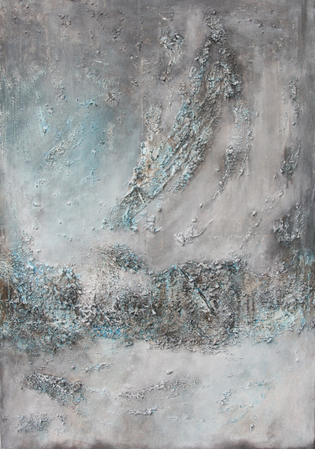 Textured abstract painting in grey and blue