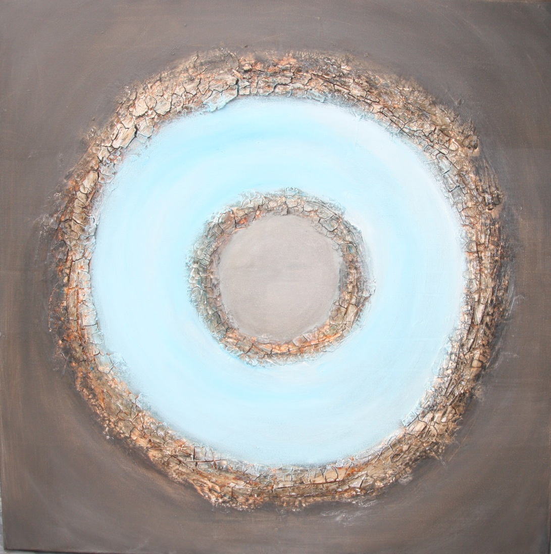 Square painting: circle in blue and brown