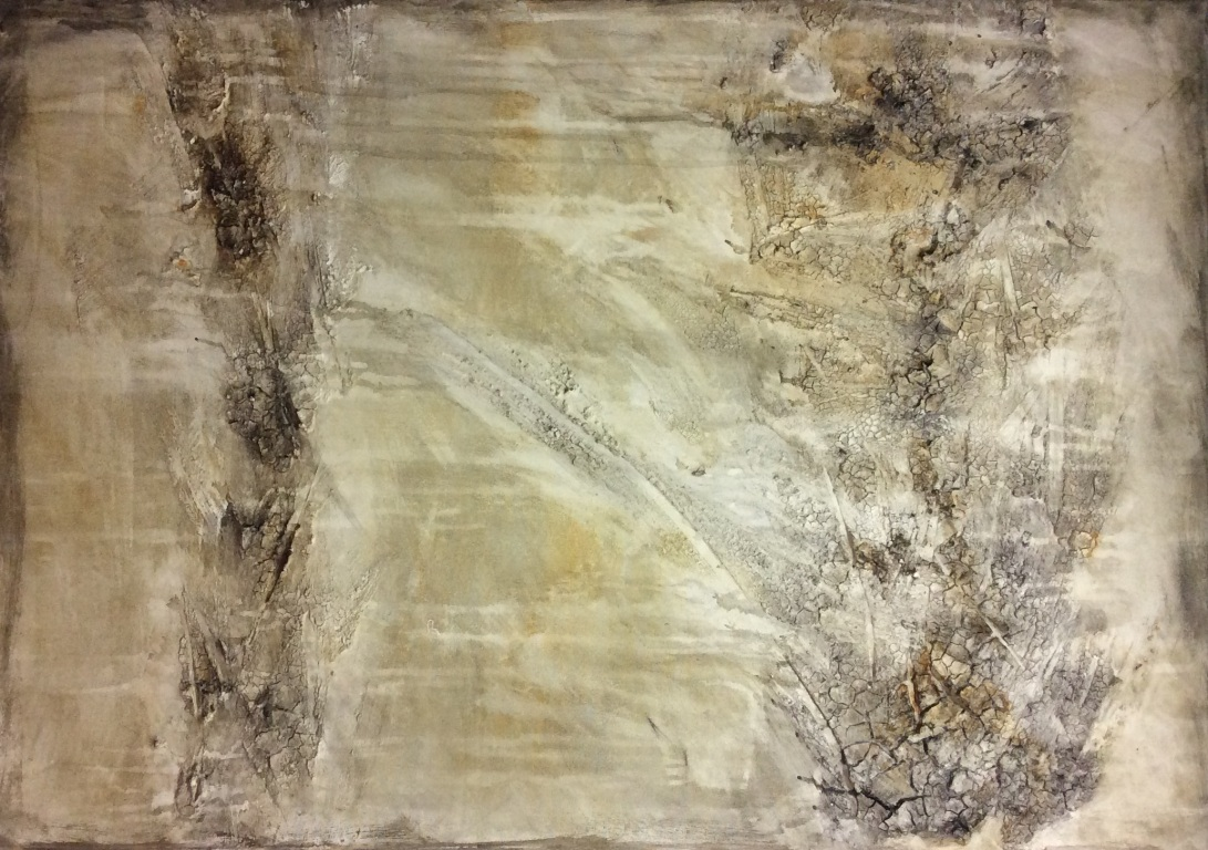 Textured abstract painting in light tones