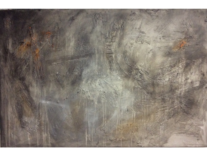 Abstract textured painting in grey and a touch of orange
