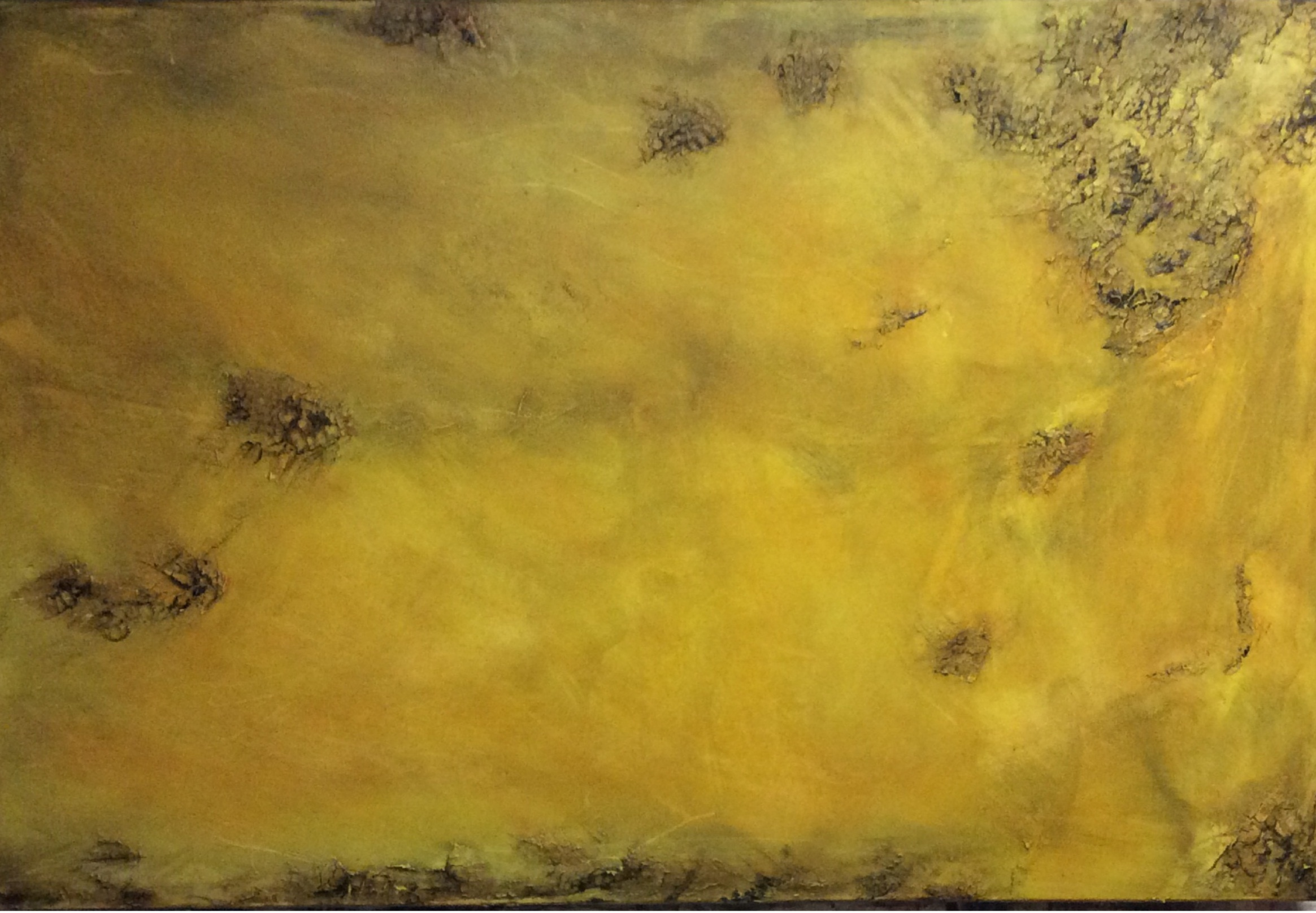 Abstract textured painting in yellow