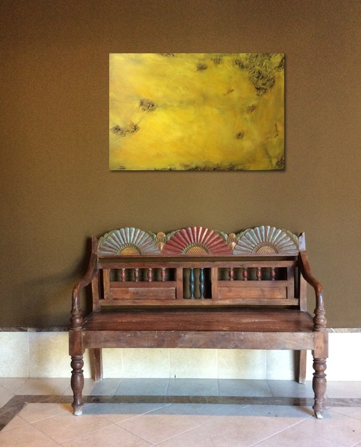 Interior design: Abstract textured painting in yellow