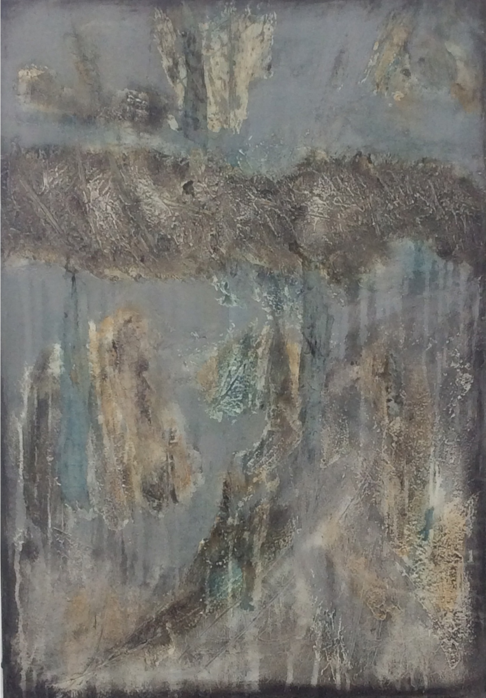 Abstract textured painting in grey and an unusual kind of green