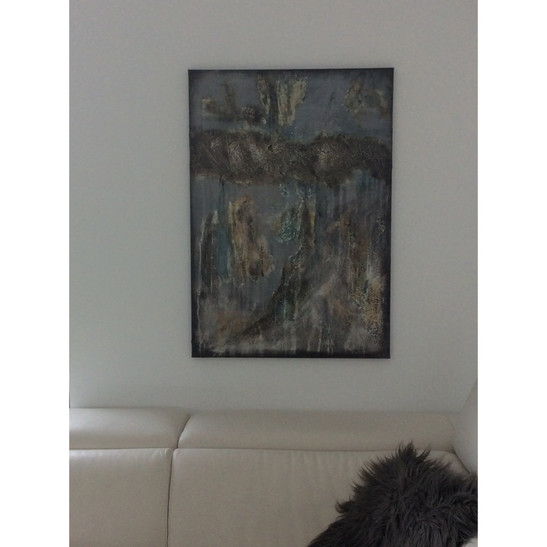 Interior design: Abstract textured painting in grey and an unusual kind of green