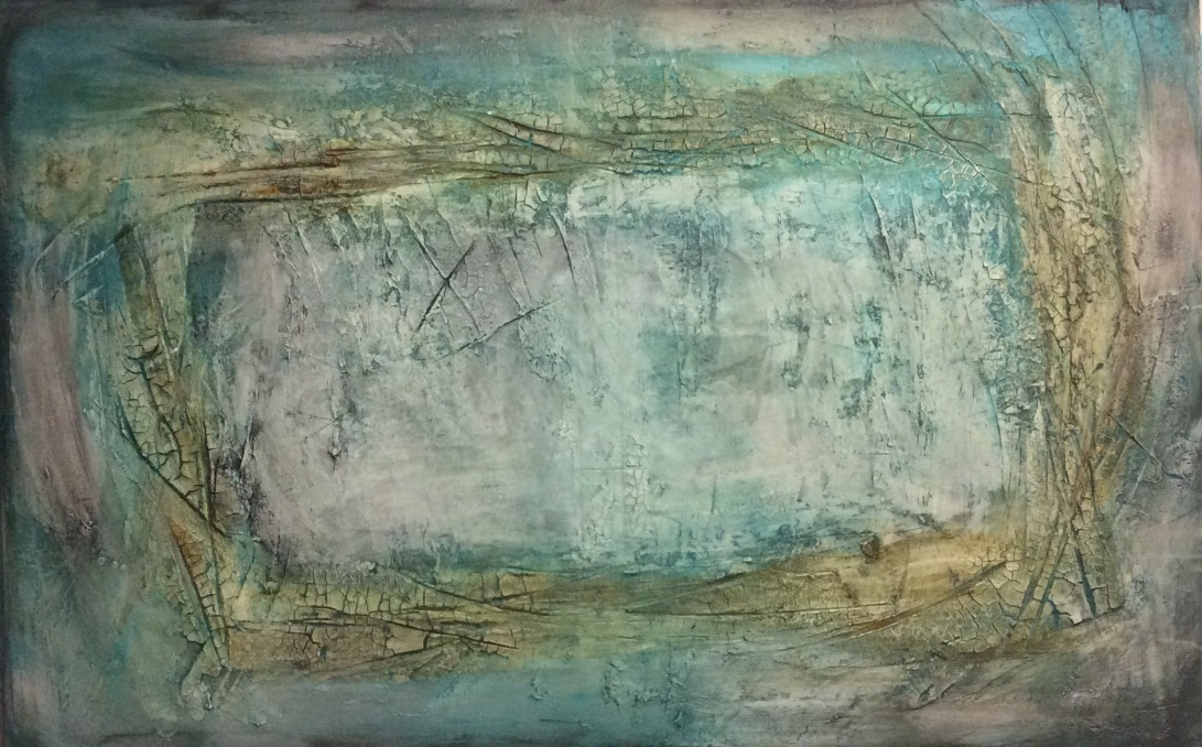Abstract textured painting in yellow, green and blue