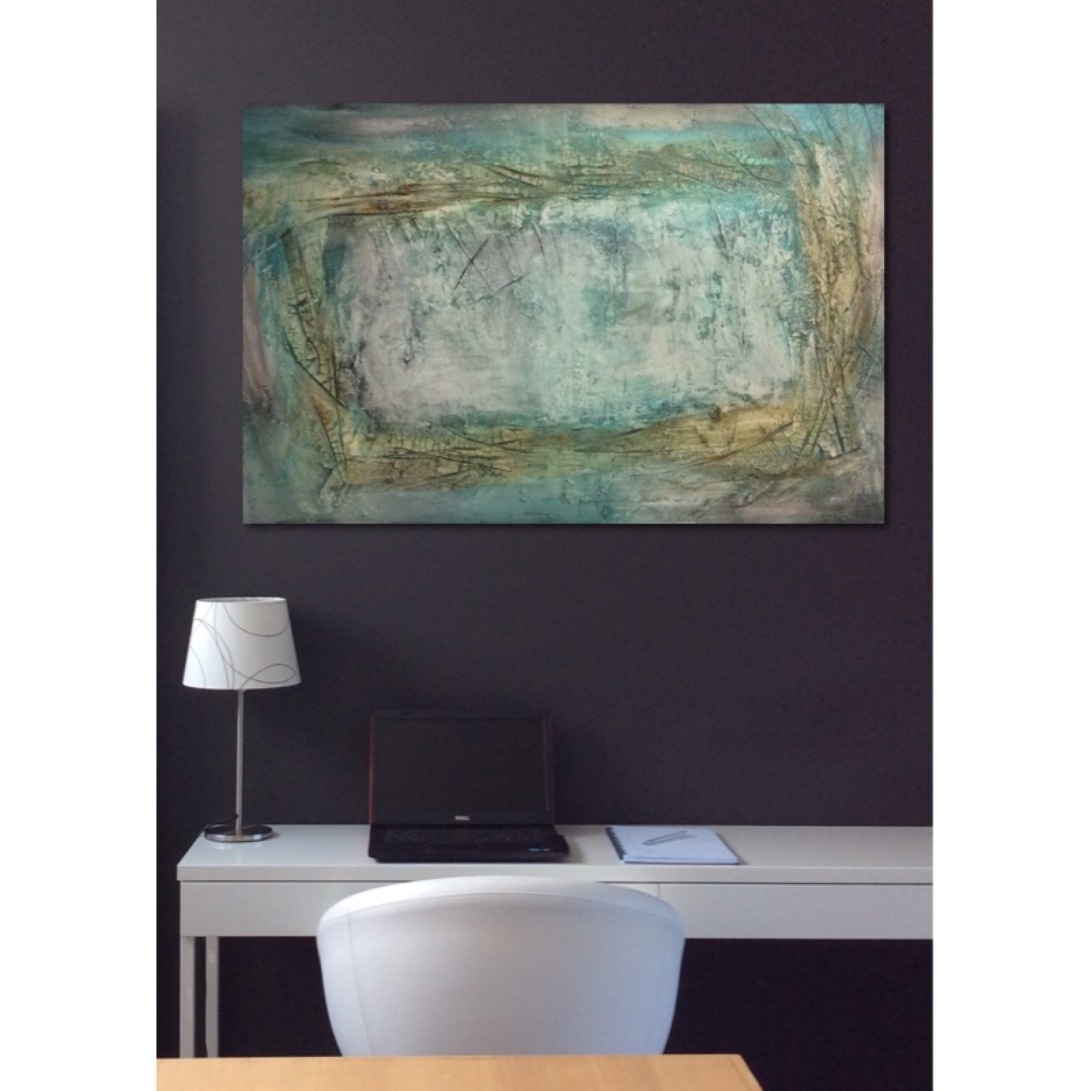 Interior design: Abstract textured painting in yellow, green and blue