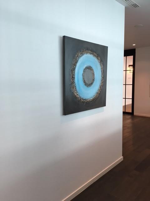 Vierkant schilderij: cirkel met blauw en bruin
