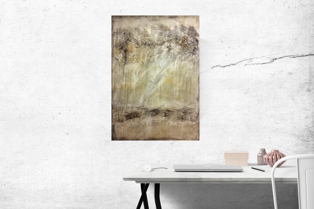 Interieur: Abstract schilderij met textuur in lichte kleuren