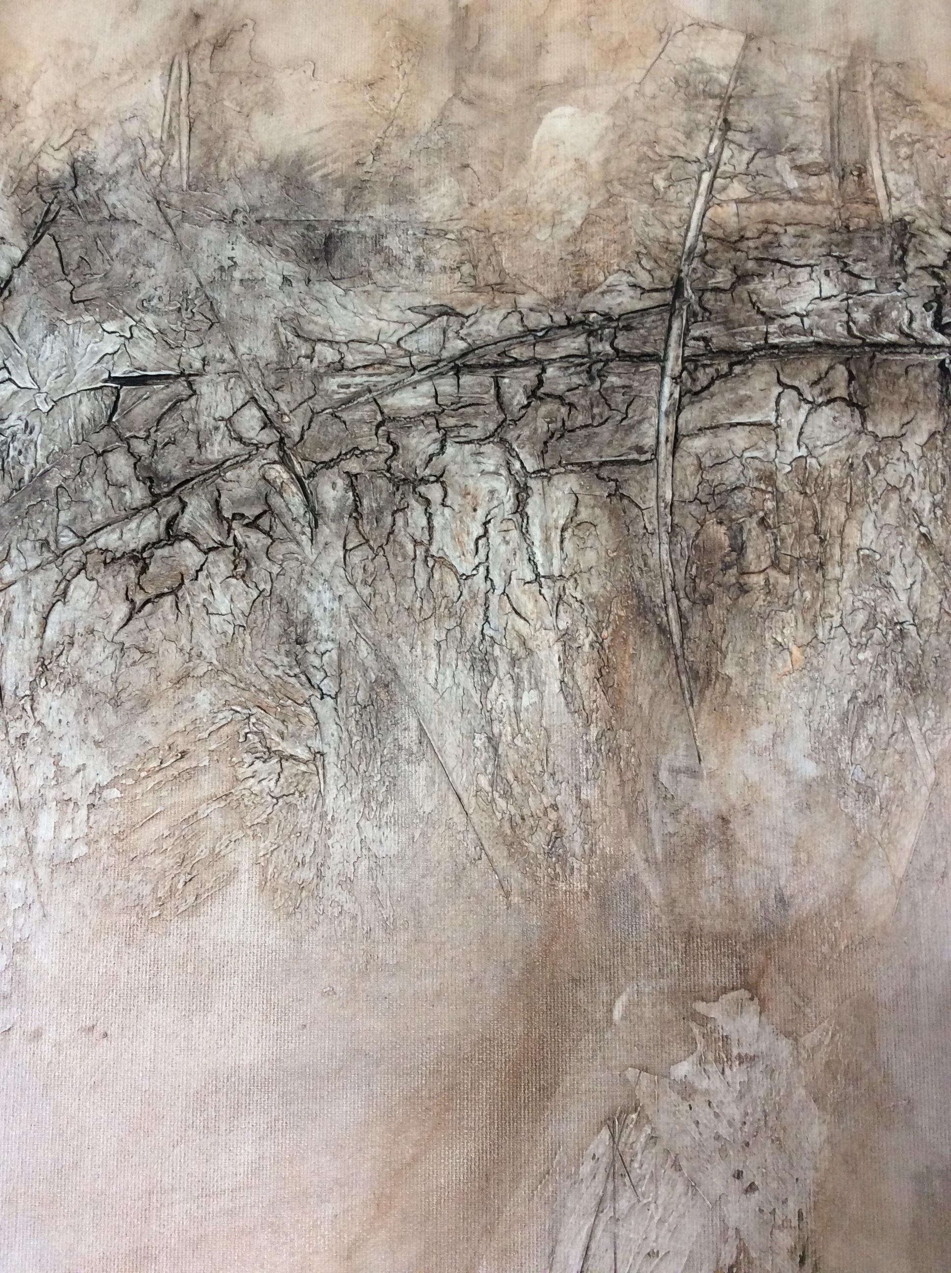 Interieur: Abstrakt schilderij met textuur in verschillende bruintinten