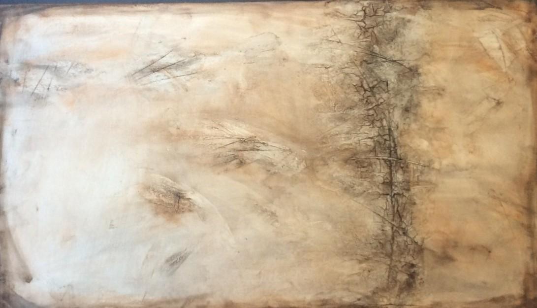 Abstrakt schilderij met textuur in verschillende bruintinten
