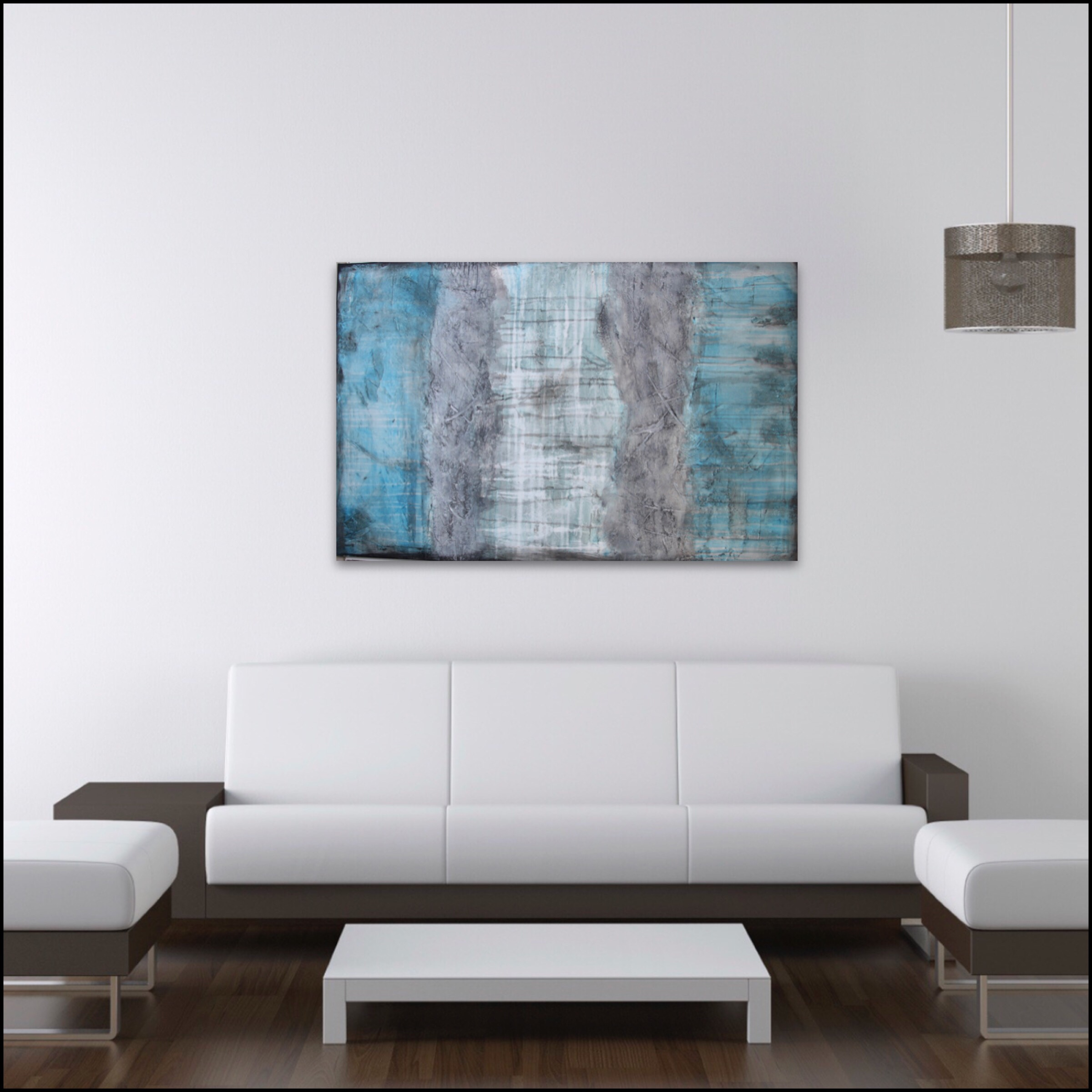 0002: Interior design Textured Abstract painting in blue and grey