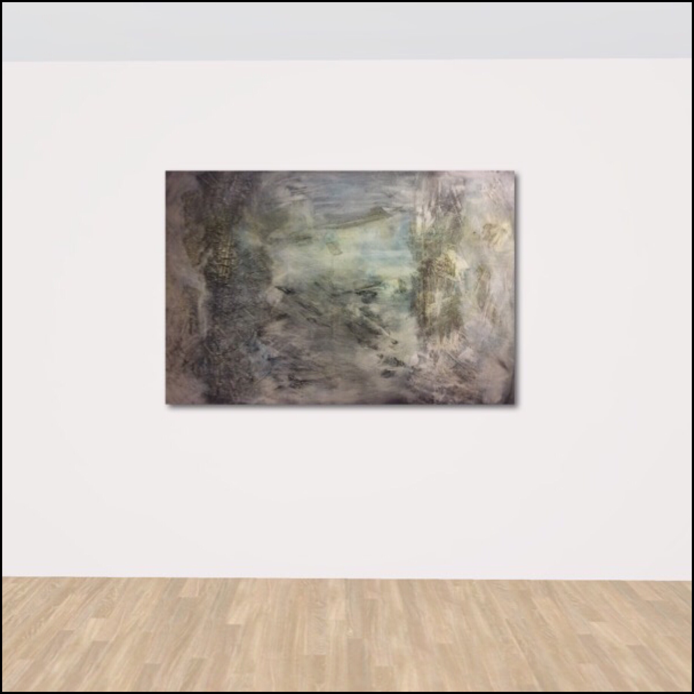 Interior design: Textured abstract painting in grey and a touch of blue