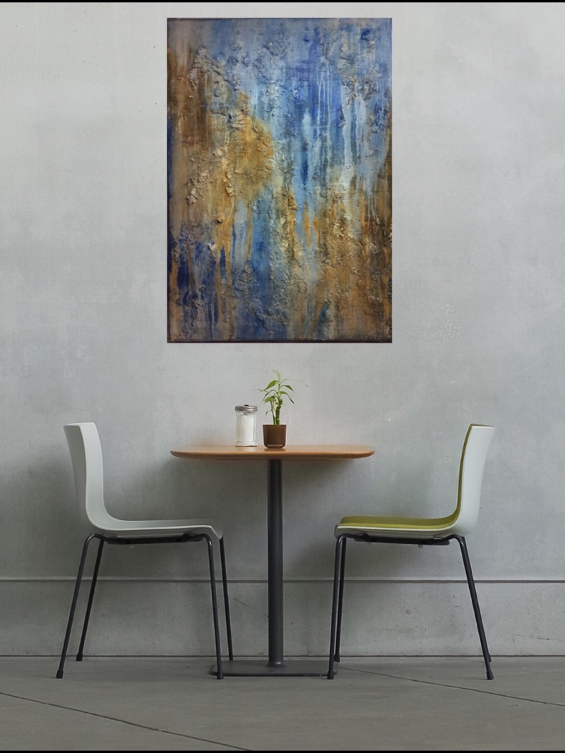 Interior design: Textured abstract painting in yellow and blue
