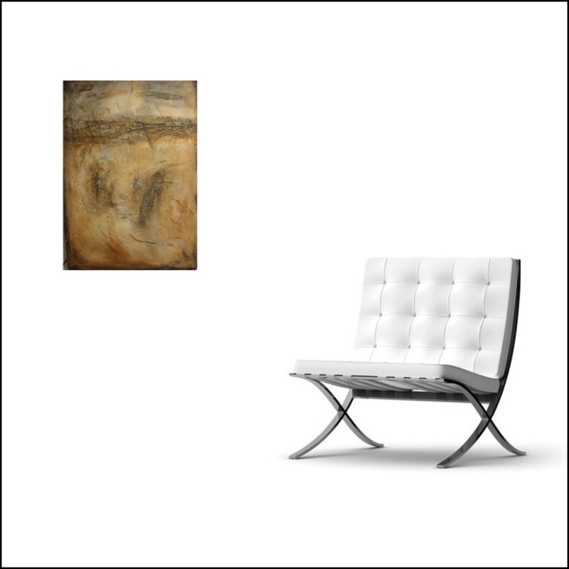 Interior design: Textured abstract painting in earth colors