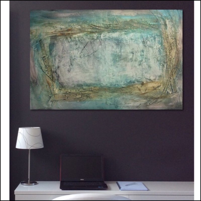 Interior design: Textured abstract painting in yellow, green and blue