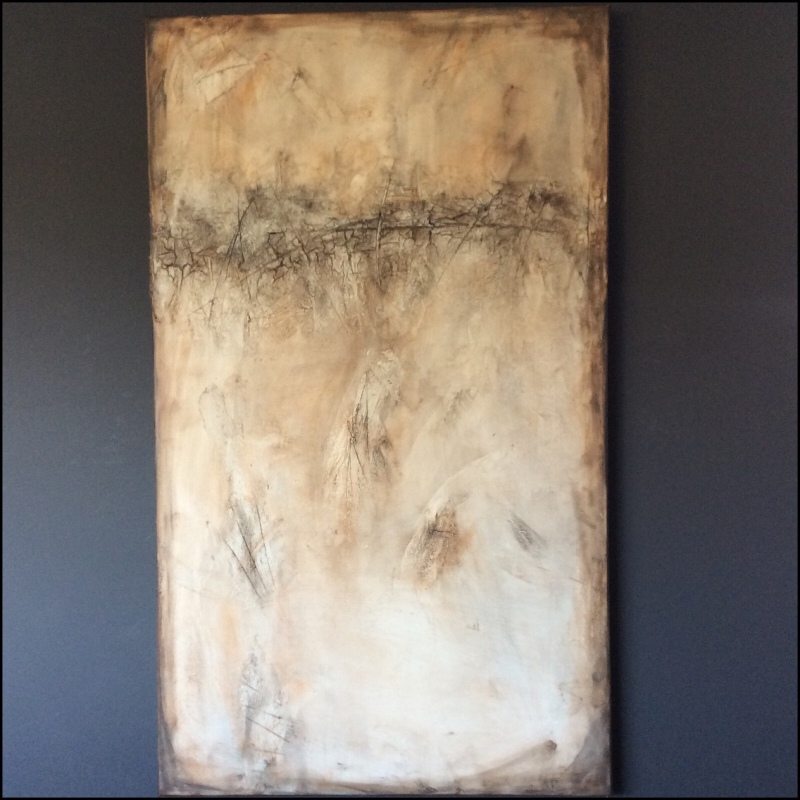 Interior design: Textured abstract painting in different shades of brown