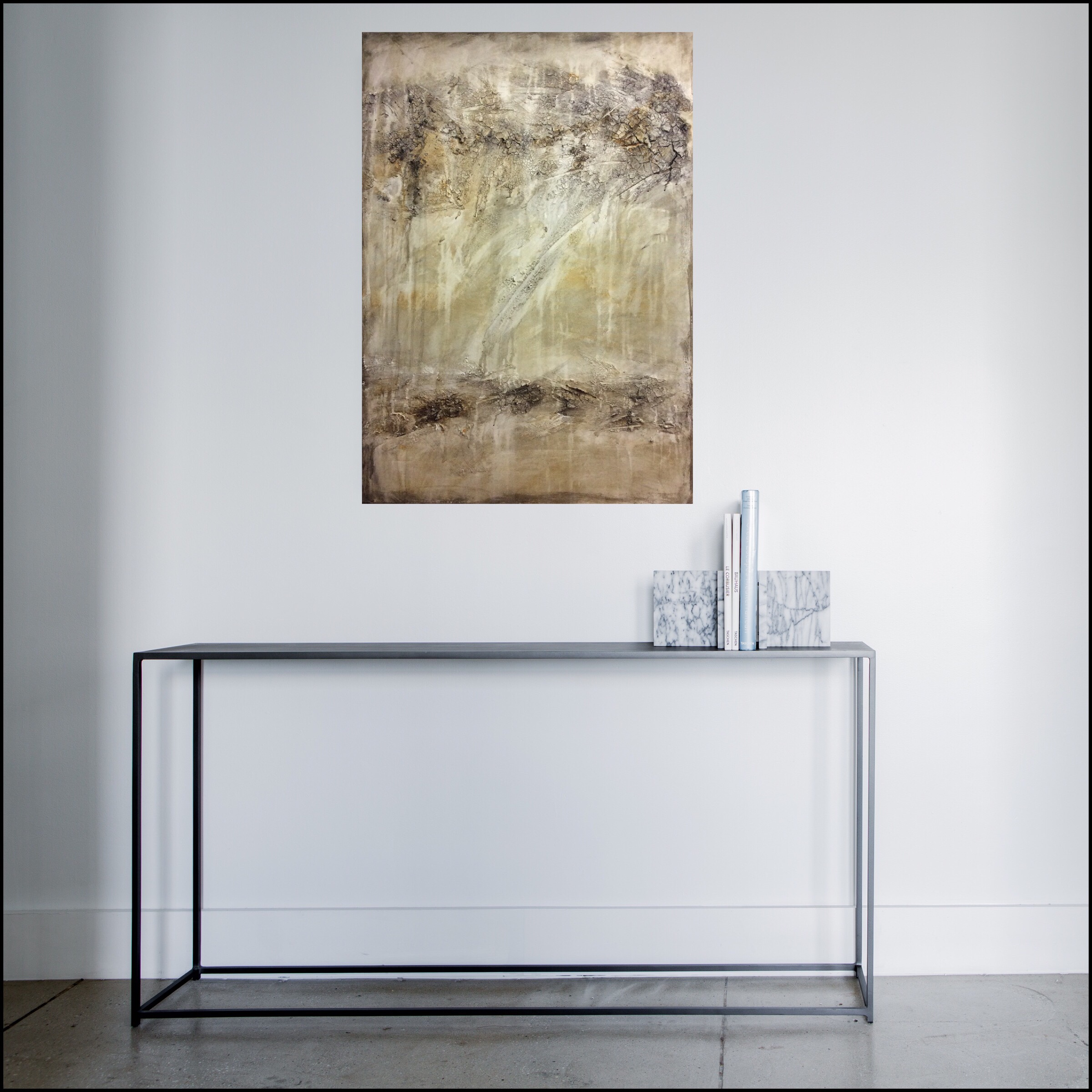 Interior design: Textured abstract painting in light tones