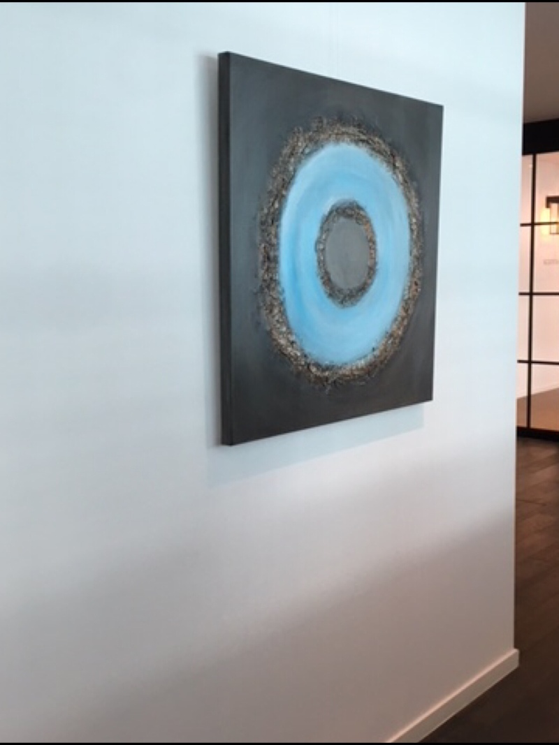 Interior design: Textured abstract painting circle in blue and brown