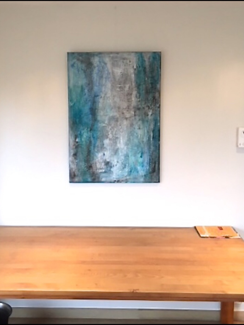 Interior design: Textured abstract painting in different shades of blue