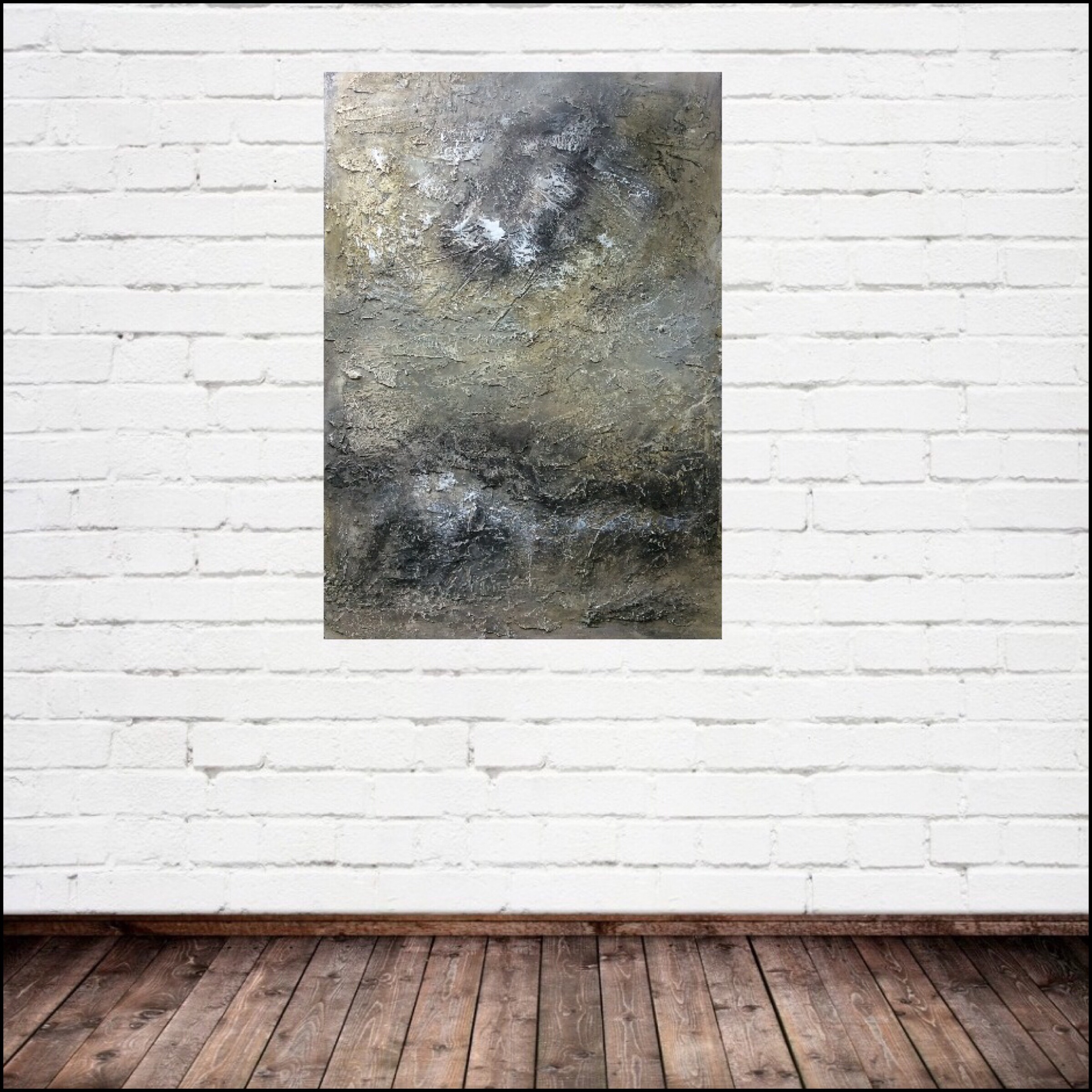Interior design: Textured abstract painting in neutral colors