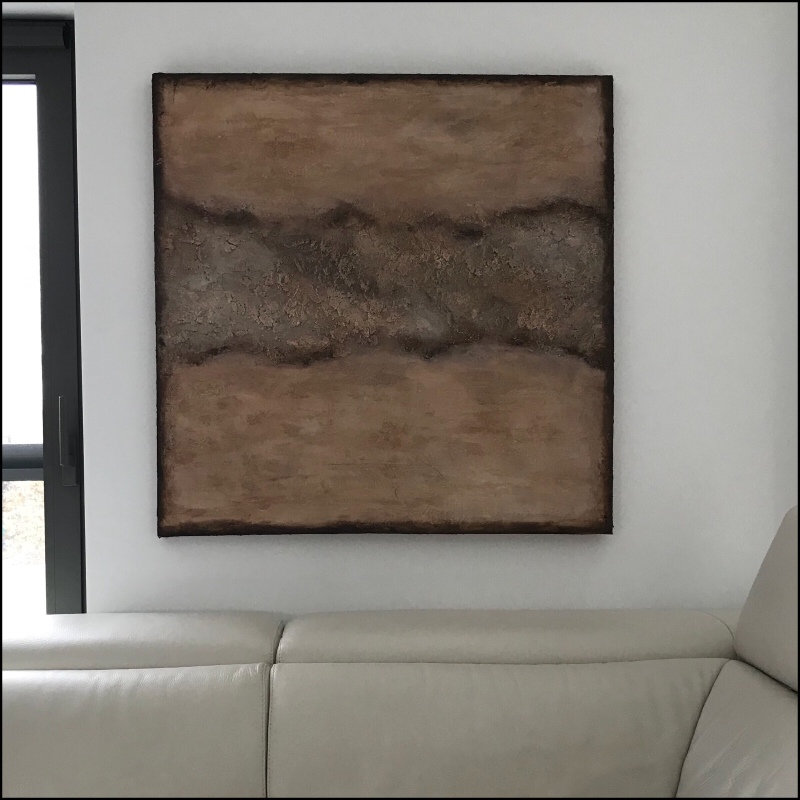Textured abstract painting in earth tones