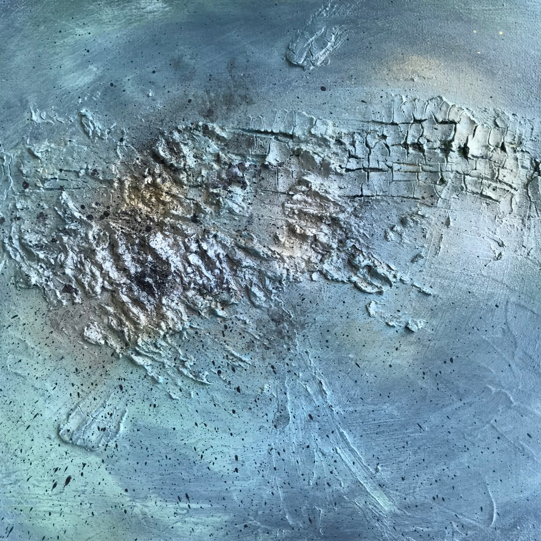 Textured abstract painting in blue and grey