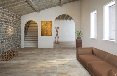 Interior design: abstract textured painting in earth tones